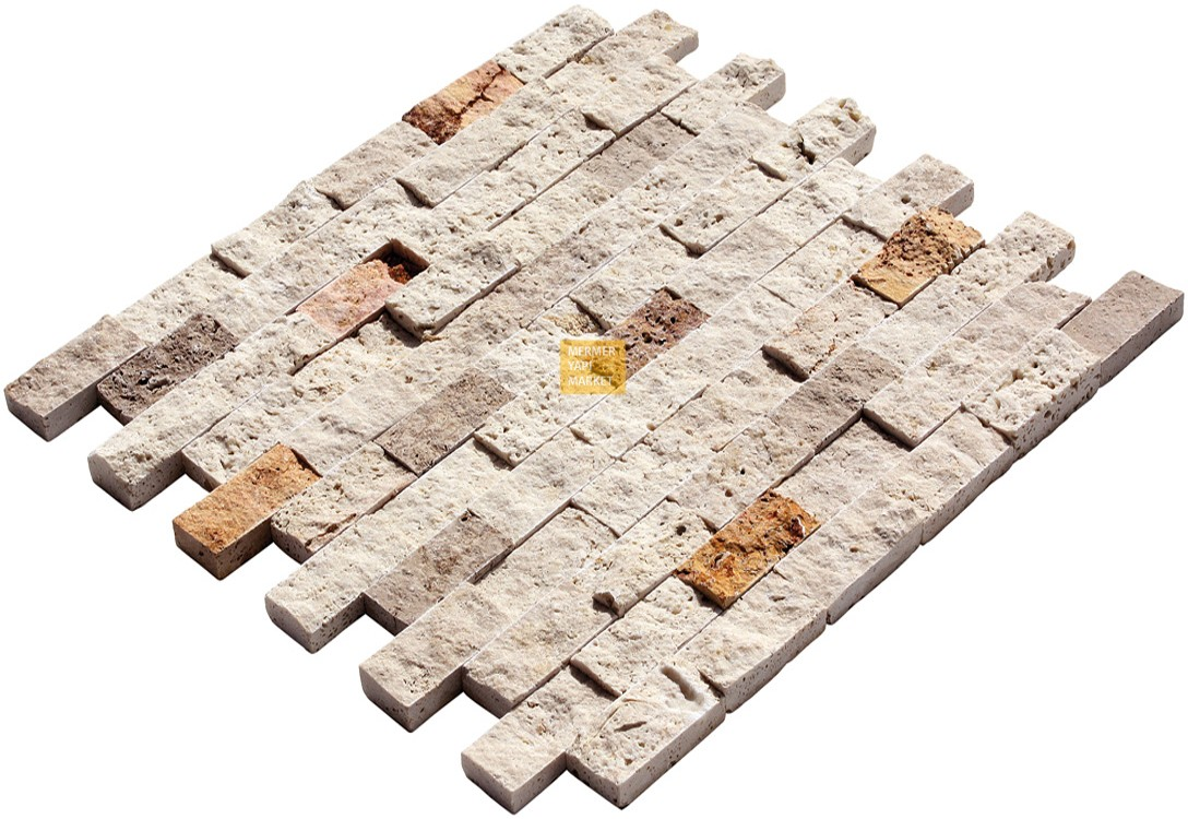 Travertine Split Face Mosaic - Triple Mix