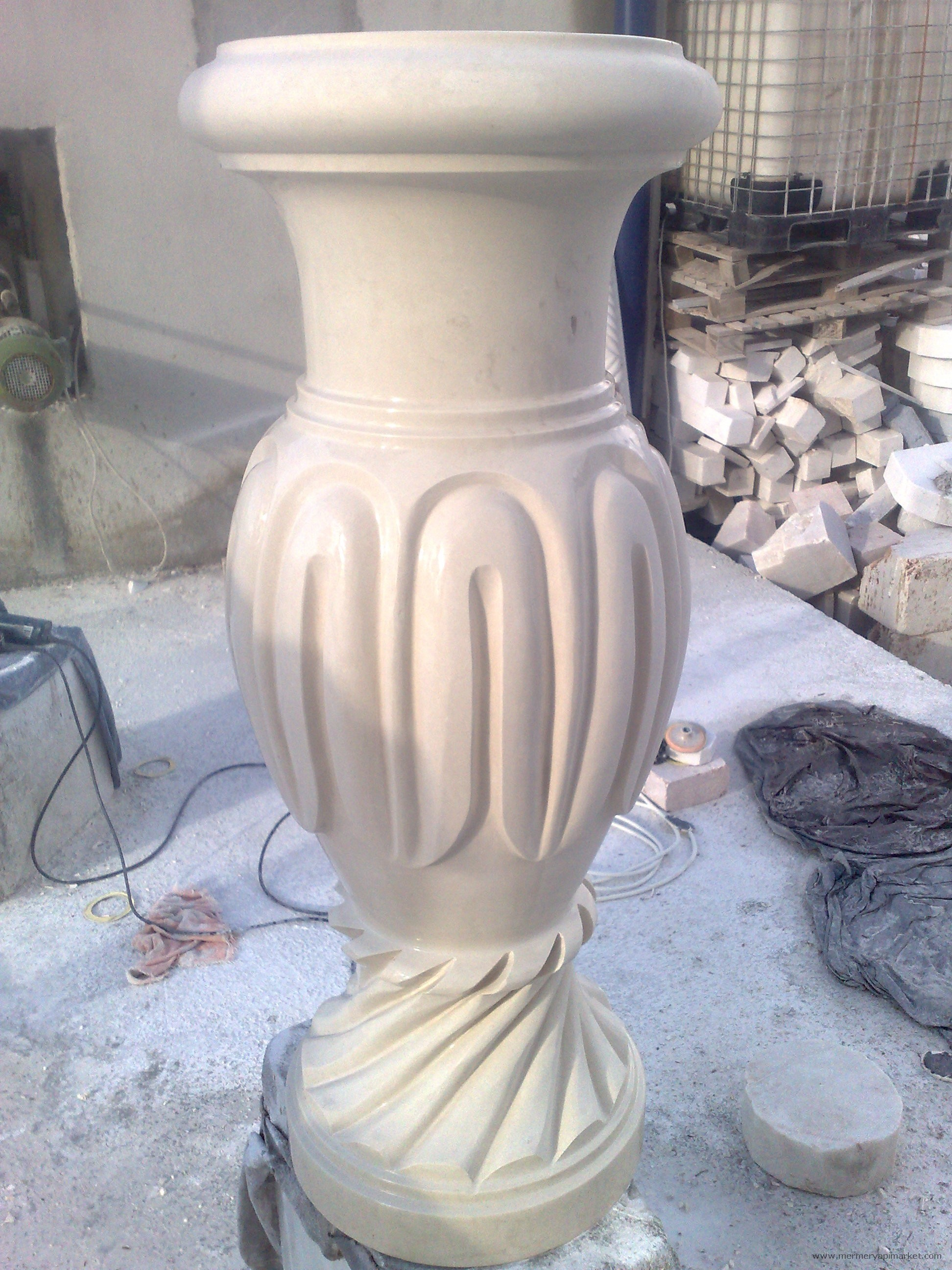 Beige Marble Flower Pot