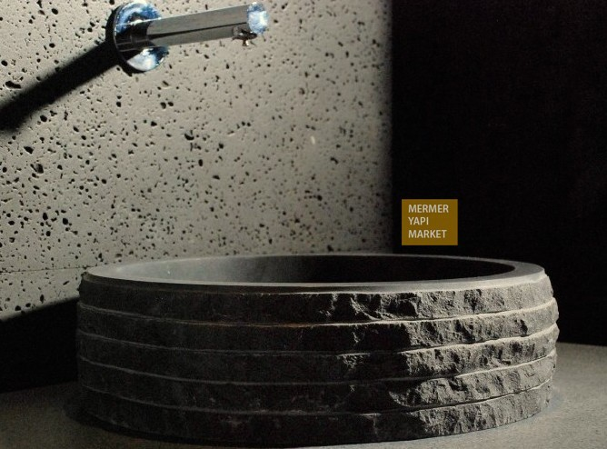 Basalt Black Washbasin - Outside Screening