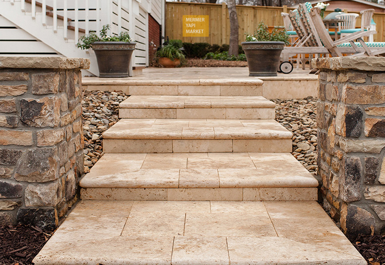 Travertine Tumbled Stair - Riser Included