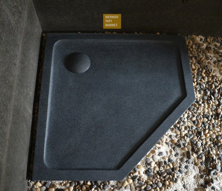Basalt Triangle Shower Tray