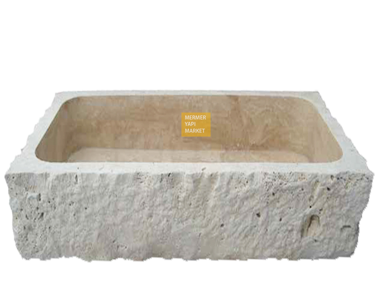 Tumbled Travertine Split Face Square Wash Basin