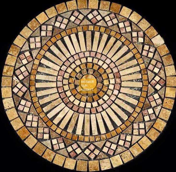 Yellow Red Travertine Mix - Medallion