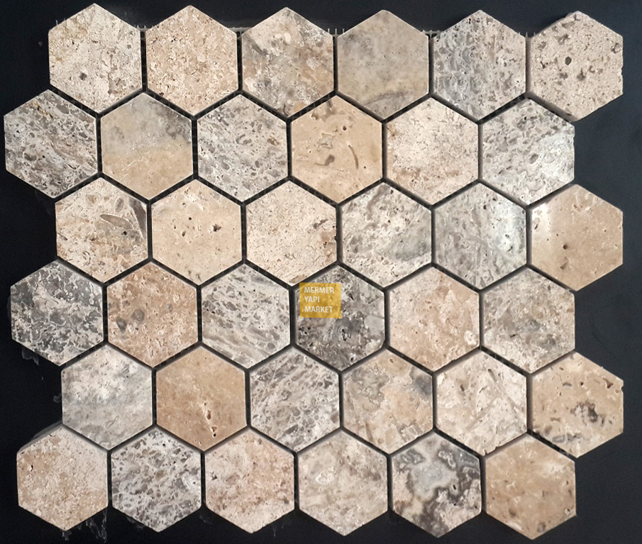 Silver Travertine Honed Hexagon Mosaic