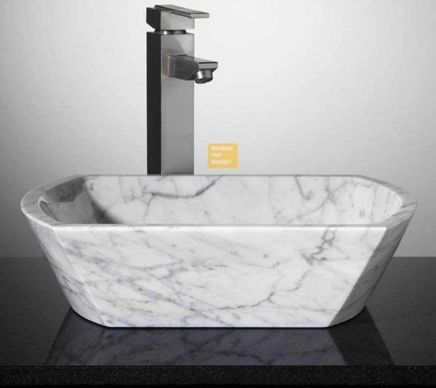 White Marble Square Wash Basin - High