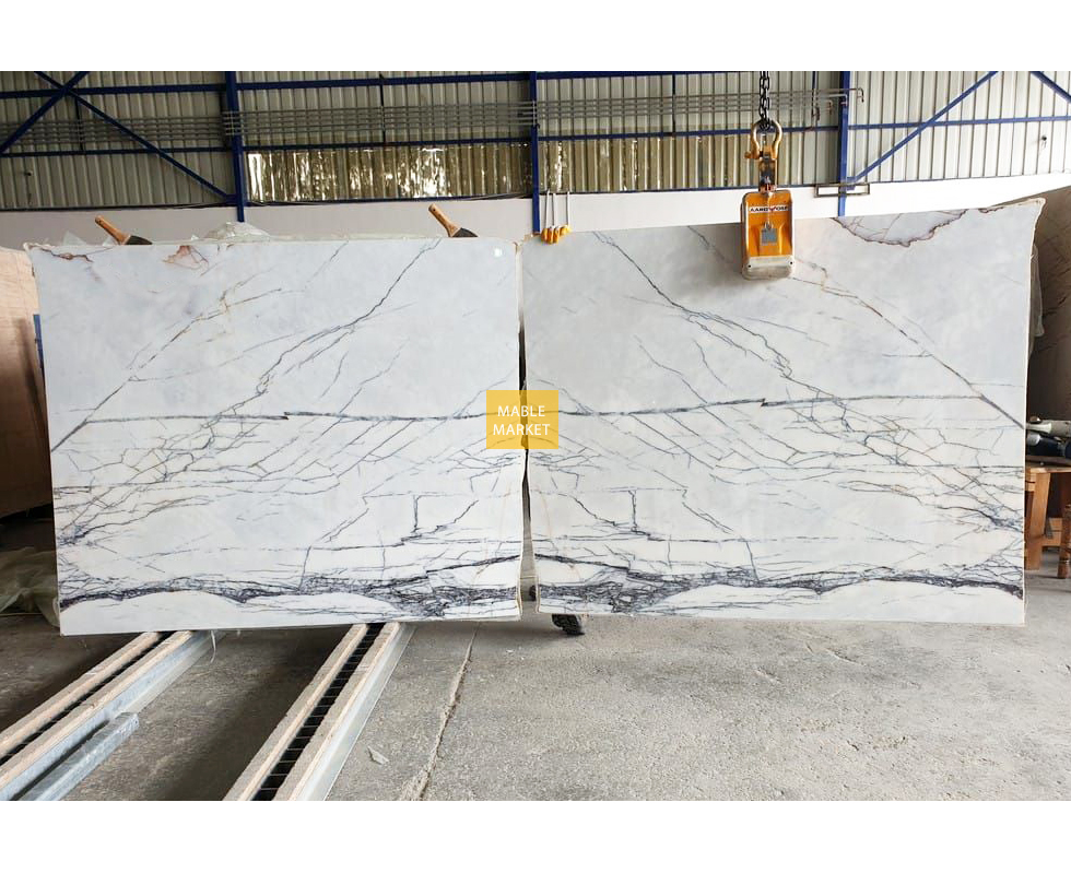 Lilac White Marble Slabs