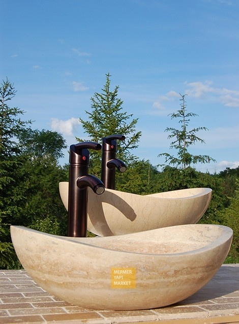 Travertine Elips Wash Basin