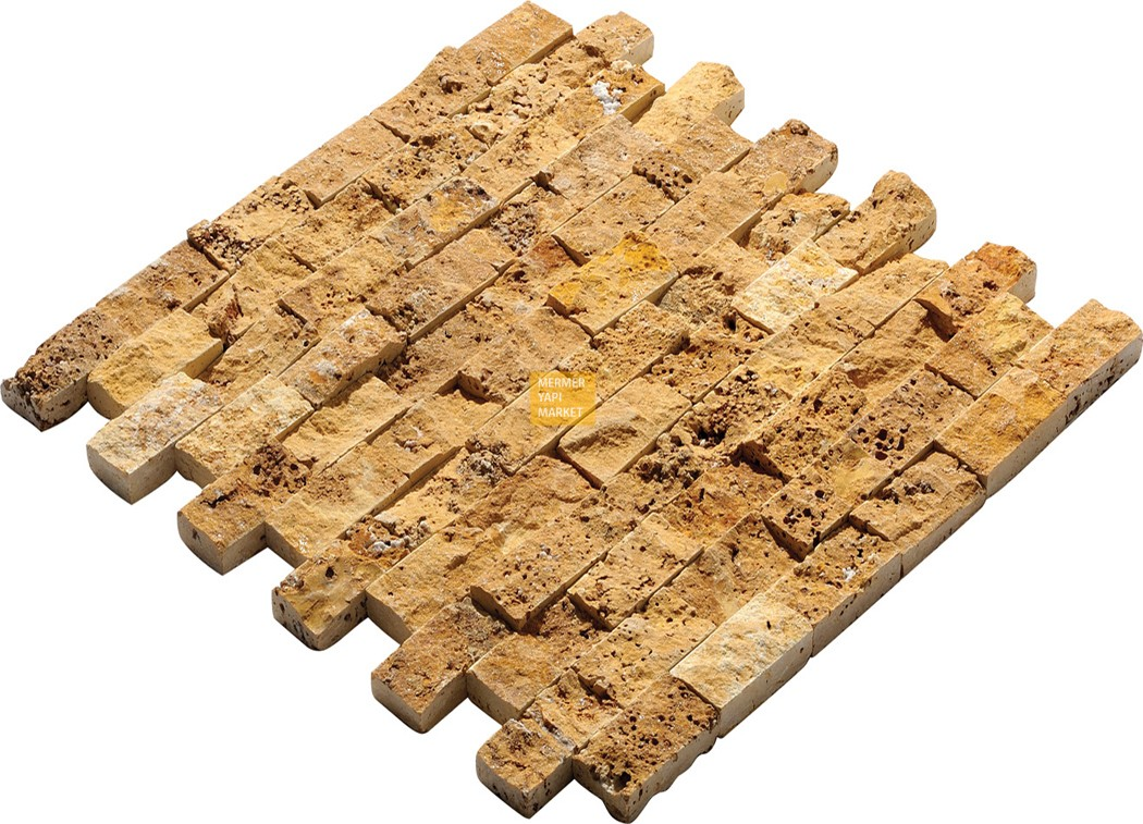 Yellow Travertine Split Face Mosaic