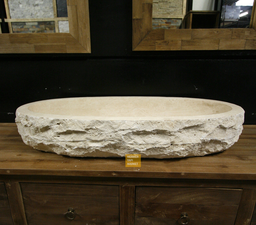Light Travertine Non-Split Face Ellipse Washbasin