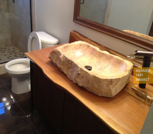 Travertine Split Face Washbasin