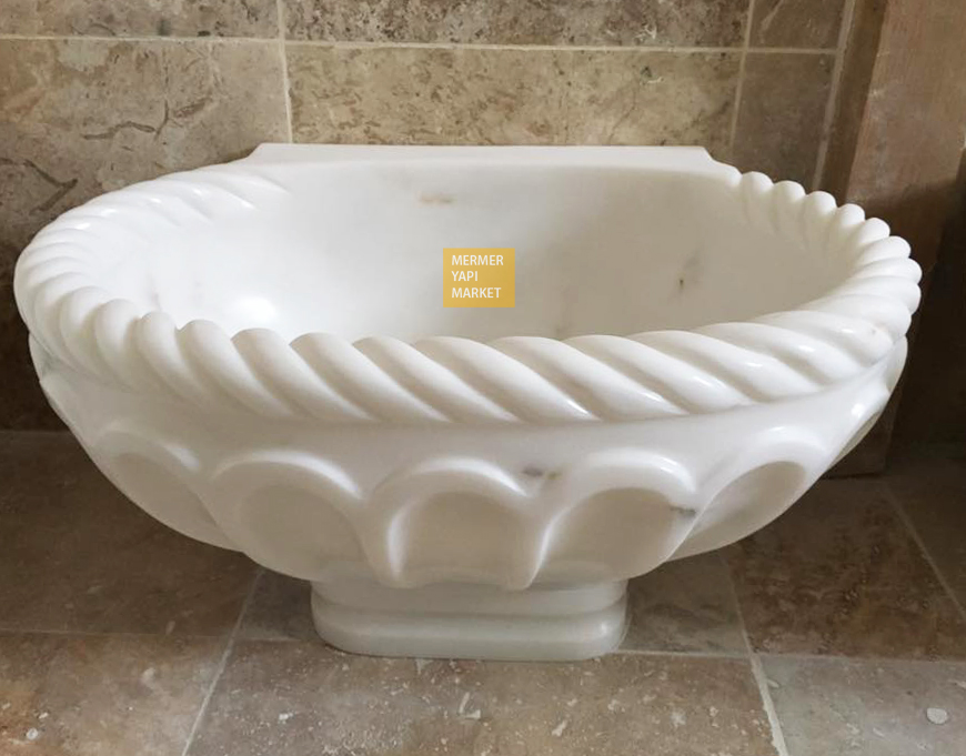 Afyon White Edge Embroidered Footed Hammam Sink
