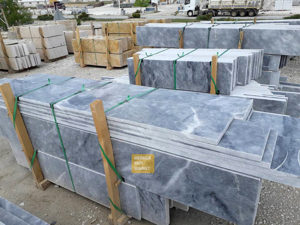 Afyon Gray Marble Handrail - 3 cm Thickness