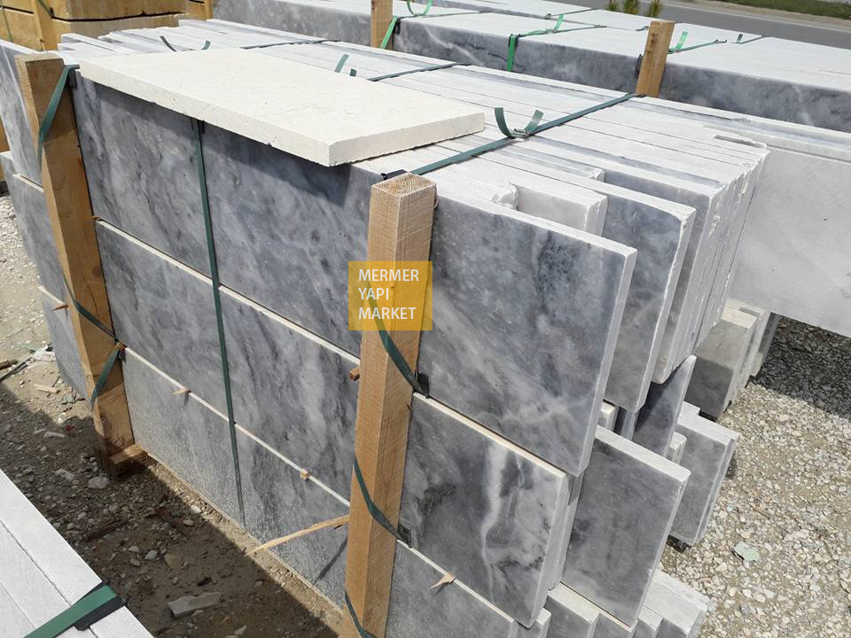 Afyon Gray Marble Stair - Riser Included