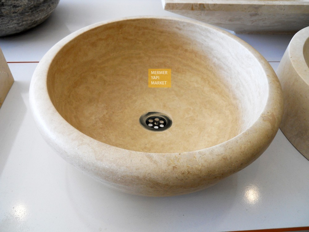 Travertine Washbasin with Thick Edge