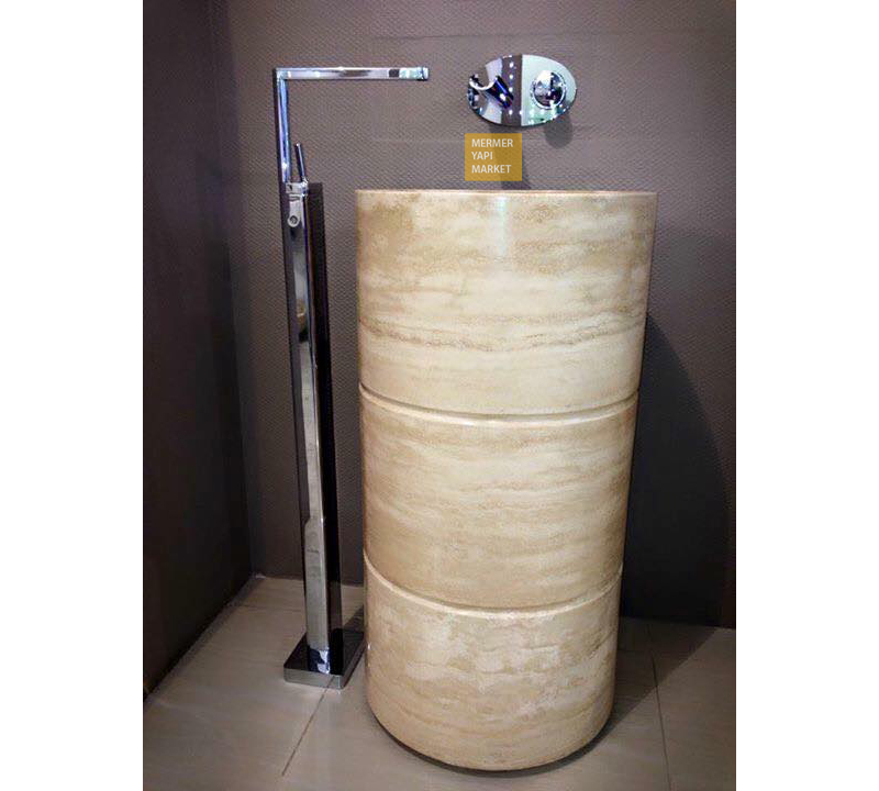 Vertical Travertine Sink - Three Pieces
