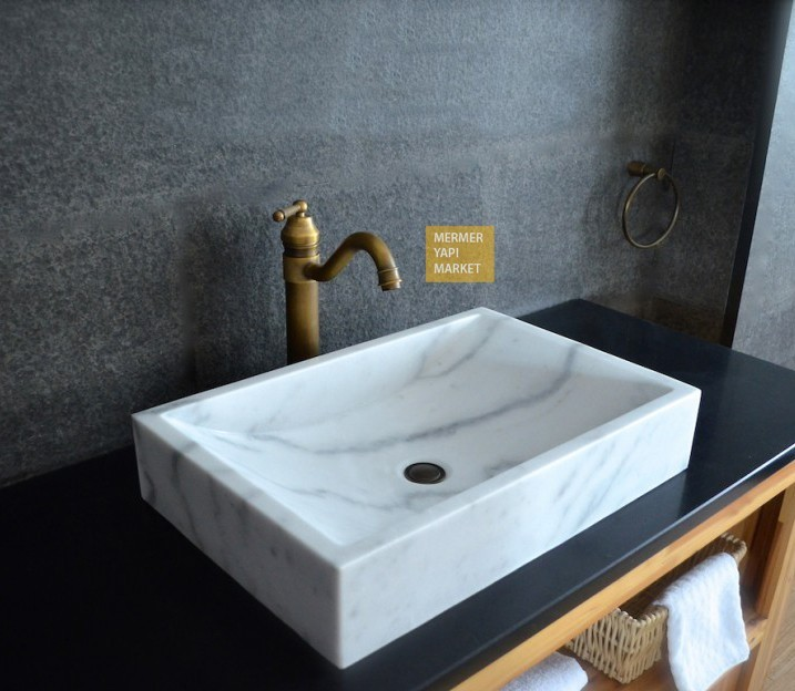 White Marble Square Wash Basin - Standard