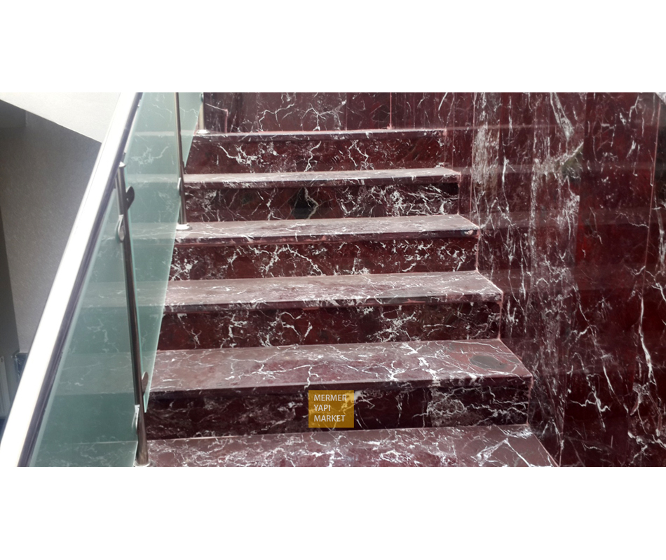 Elazığ Cherry Marble Stair - Riser Included