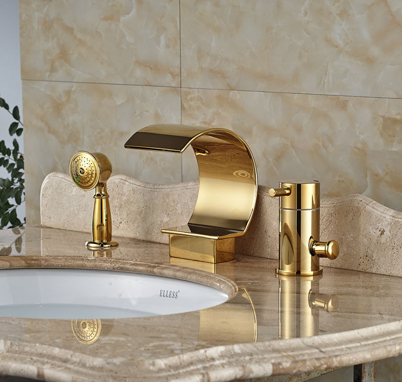 Gold Plated Modern Fountain Waterfall Battery