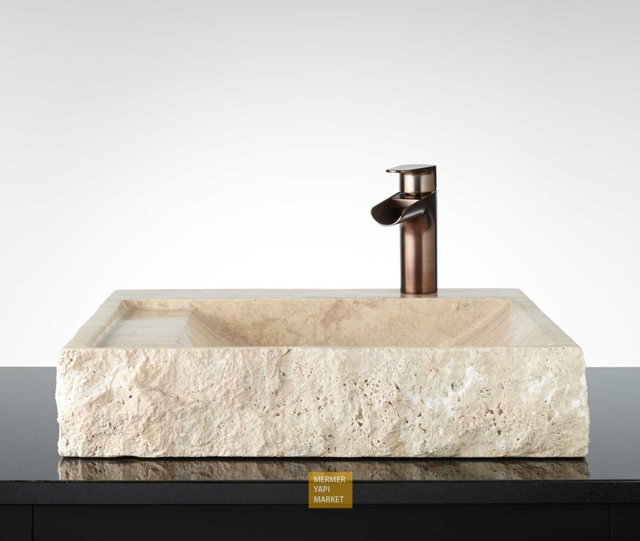 Travertine Square Wash Basin