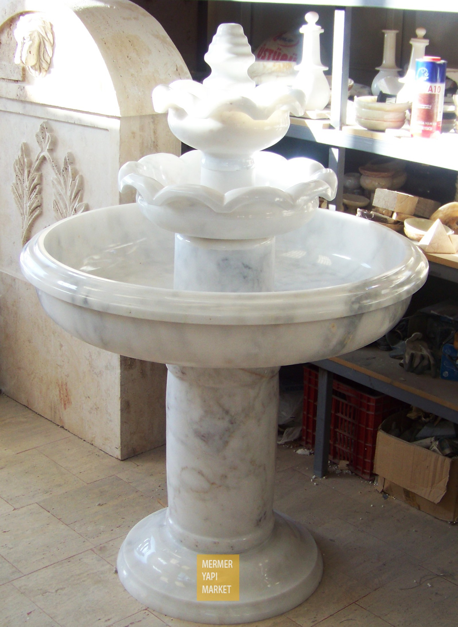 Afyon Gray Marble Fountain