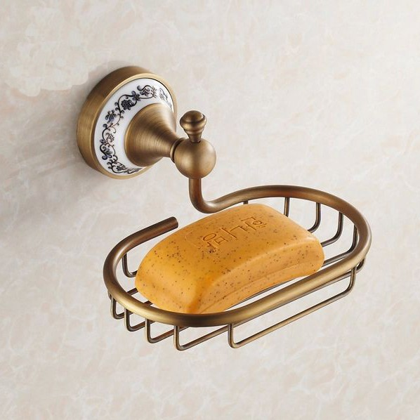 Antique Ceramic Wall Mounted Brass Soap Dish