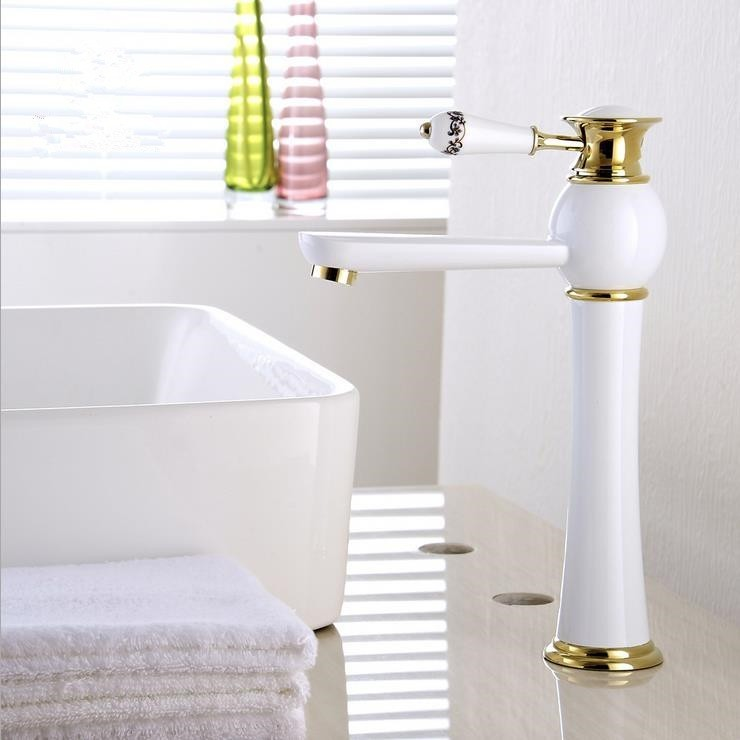 Patterned White Basin Mixer