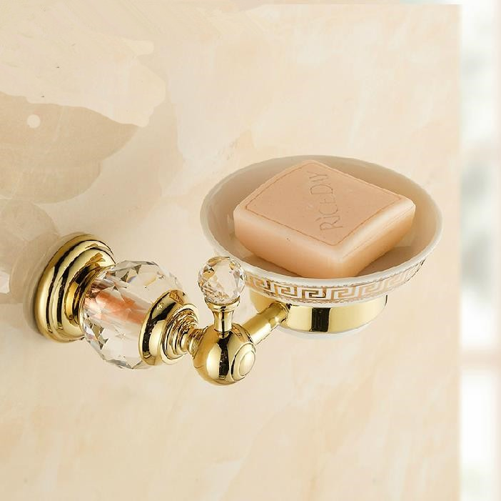 Gold Plated Wall Mounted Ceramic Soap Holder