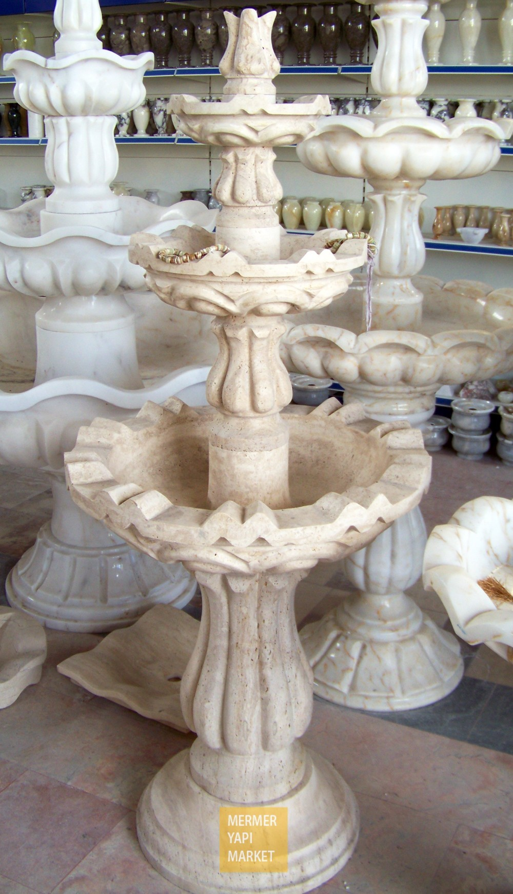 Travertine Fountain Embroidered