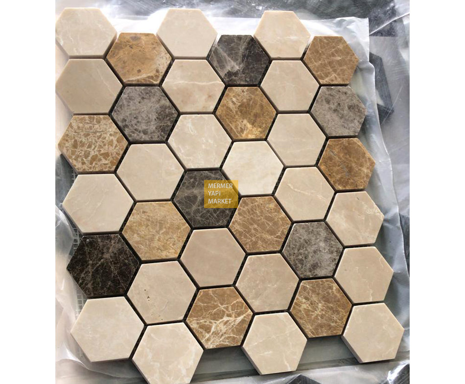 Hexagon Emperador Beige Mixed Mosaic
