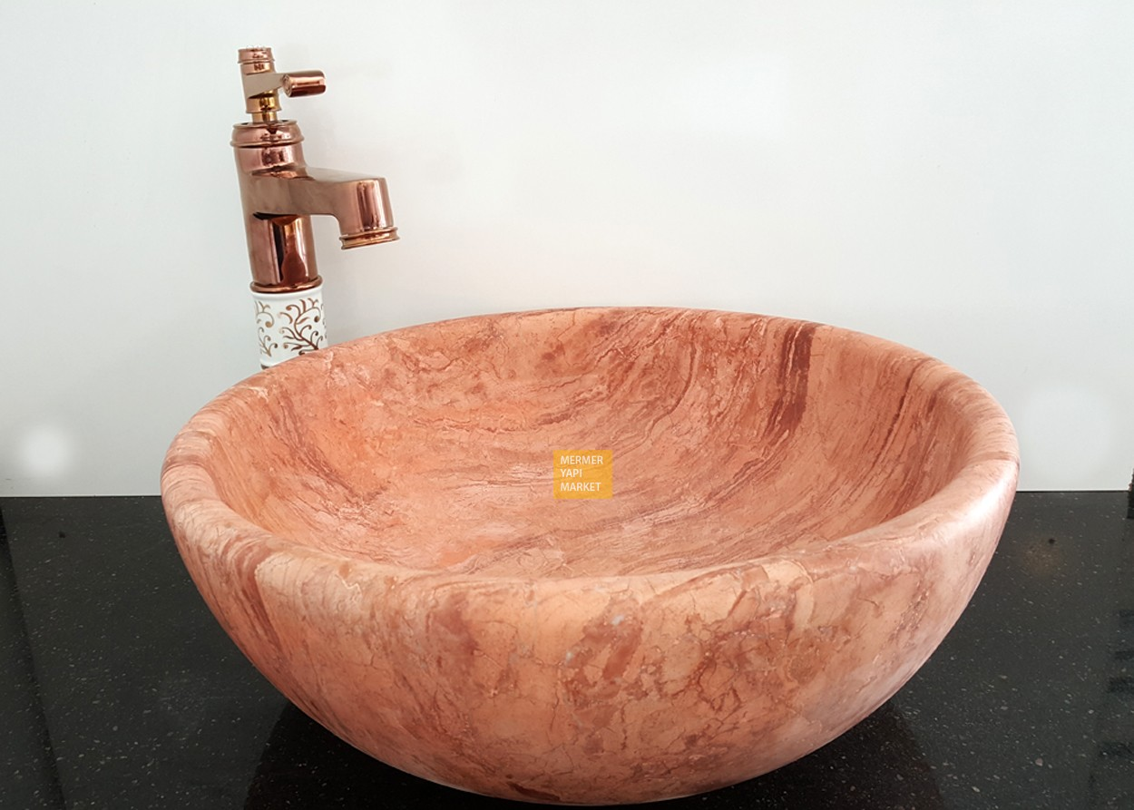 Red Travertine Oval Wash Basin