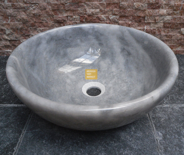 Afyon Cloudy White Oval Edge Round Sink