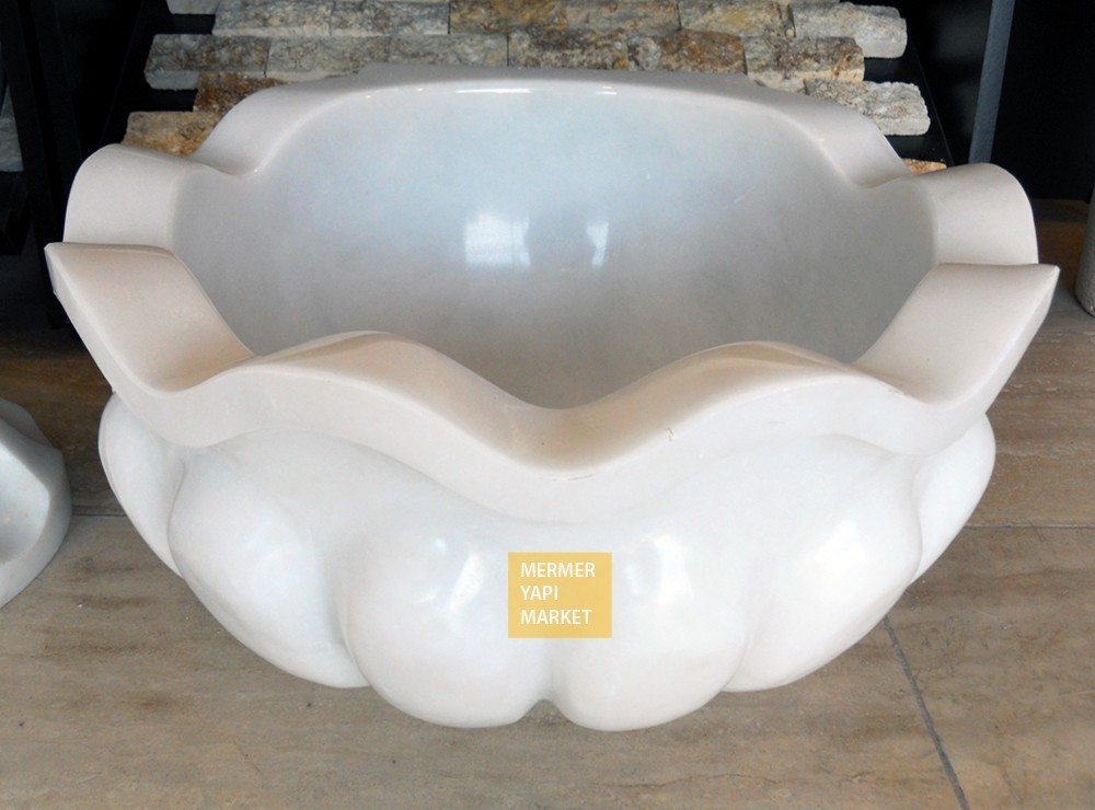 Afyon White Special Patterned Hammam Sink - Clean White