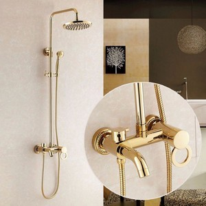 Gold Plated Bathroom Shower Set